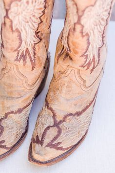 bridal-shoes-brown-leather-cowboy-boots