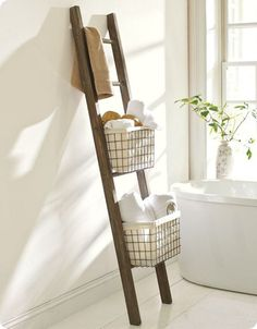WOOD BATH LADDER STORAGE - Would work with plants on covered porch, too