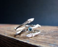 Blue Topaz Ring Twig Cabochon Witch Ring Silver Botanical Ring December Birthstone Gifts for her Under 100