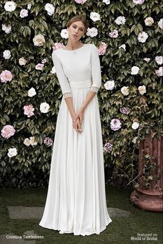 Crepe dress with closed neckline and V-backline bordered in Chantilly. French sleeves finished with the same Chantilly lace. Pleated sash in waist buttoned in the back. Most Beautiful Wedding Dresses, Wedding Dress Styles, Fashion Dresses, Bridal Gown Styles, Wedding Gowns, Trendy Dresses