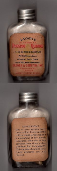 "Old phospho-quinine medical bottle.  For ""la grippe"", colds, headaches, fever and ""all malarial troubles"". Still filled and still has its original cotton wadding.  (from my personal collection)"