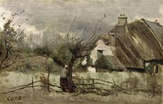 Thatched cottage in Picardie  Jean Baptiste Camille Corot