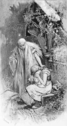"""Illustration of the Brothers Grimm fairy tale """"One-Eye, Two-Eyes, and Three-Eyes"""" Artist::Hermann Vogel Brothers Grimm Fairy Tales, Cinderella, Vintage Fairies, Children's Book Illustration, Book Illustrations, Fairytale Art, Black And White Drawing, Third Eye, Fairy Tail"""