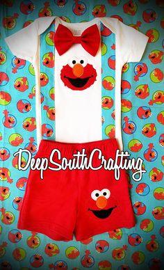 Elmo Sesame Street first birthday smash cake onesie bodysuit baby shower gift bow tie suspenders baby boy onesie different options READ!
