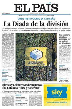 Portada de El País del 12 de septiembre de 2017.