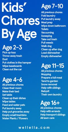Kids chores by age chart - Daily and weekly cleaning tasks for kids from toddlers to teens, to earn allowance, get life skills, and help out at home.
