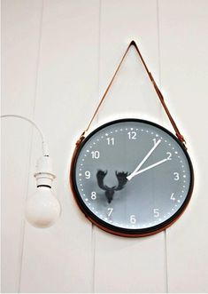 Ikea Clock with a Leather Belt Hanger