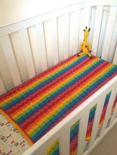 Tres Frijoles en una vaina: Manta Rainbow Bumpy Tutorial