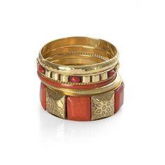 Jewels of India Handicraft Set of 6 Enamel Bangle (Size 7.5) in Goldtone