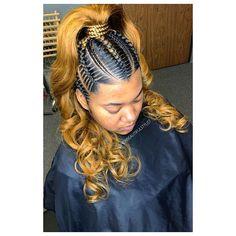 Ponytail Braid Styles, Feed In Braids Ponytail, Braids With Curls, Braided Ponytail Hairstyles, African Braids Hairstyles, Baddie Hairstyles, Ponytail Bun, Braid Half Up Half Down, Braided Half Up