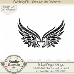 Tribal Angel Wings, Tribal, Angel Wings, Angel, Wings, Asas, Asas de anjo, Anjo, anjos, arquivo de recorte, corte regular, regular cut, svg, dxf, png, Studio Ilustrado, Silhouette, cutting file, cutting, cricut, scan n cut.