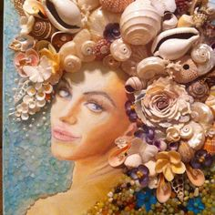 Hand Painted Oil Fantasy Portrait on Canvas Decorated with Seashells,Seashell Flowers,Sea Glass,Glass Pebbles,Beads and Butterflies Seashell Painting, Seashell Art, Acrylic Painting Canvas, Canvas Art, Sea Glass Crafts, Sea Glass Art, Seahorse Art, Fantasy Portraits, Quelques Photos