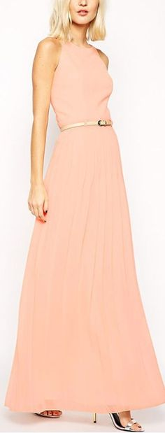 pleated belted maxi