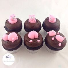 who wants chocolate cupcakes? #cupcakesforlunch #whynot  #nationalchocolatecakeday #pigsinmud #cake #chocolate #cupcake #yum #instayum #instacake #cupcakestagram #yehcakes #custom #customized