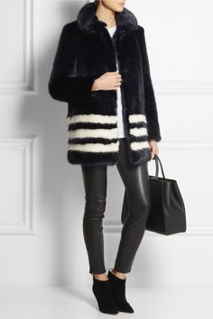 Fun 'Wilma' striped faux-fur coat by Shrimps—Maria Black ring—J Brand pants—Gianvito Rossi booties—Fendi bag❣ net-a-porter.com