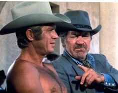 JUNIOR BONNER (1972) - Steve McQueen (pictured) - Robert Preston (pictured) - Ida Lupino - Joe Don Baker - Barbara Leigh - Ben Johnson - Directed by Sam Peckinpah - ABC Pictures Corp. - Publicity Still.
