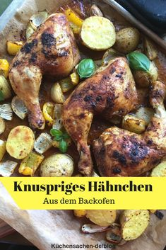 Crispy chicken legs from the oven - with delicious marinade. A must-have recipe! So quick, easy and delicious! # Kitchen stuff Crispy chicken legs with vegetables from the oven Küchensachen kuechensachen KS: Fisch, Fleis Crispy Baked Chicken Thighs, Juicy Baked Chicken, Crispy Oven Baked Chicken, Baked Chicken Tenders, Baked Chicken Recipes, Chicken Legs, Oven Baked Vegetables, Plats Healthy, Le Diner