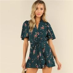 a6a36a88c465 SHEIN Green Vacation Bohemian Beach Floral Print Plunge V Neck Flounce  Sleeve Belted Ditsy Romper Summer Women Casual Jumpsuit