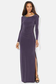 Lauren Ralph Lauren Long Sleeve Embellished Jersey Column Dress. Taille 38-40. $240. Ref:2123/38. REF 2112/40.
