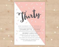 Modern Geometric 30th Birthday Invitation Pastel Peach Thirtieth And Sophisticated