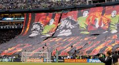 "Best soccer Tifos from around the world:     Seattle Sounders:   Seattle Sounders fans unveil a tifo inspired from the ""Build a Bonfire"" chant, featuring Sounder players holding torches on horseback ahead of a game against the Portland Timbers."