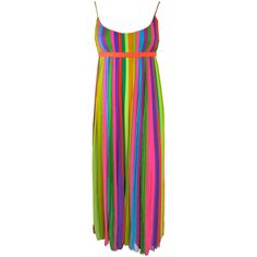Vintage 1970's era silk chiffon rainbow stripe pleated dress | From a collection of rare vintage evening dresses at http://www.1stdibs.com/fashion/clothing/evening-dresses/
