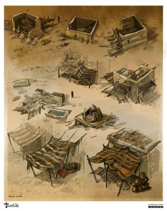 game concept art by ~sabin-boykinov on deviantART structures within towns. some could be buildings or storage depending size and adding/subtracting features Concept Art Game, Egypt Concept Art, Bg Design, Prop Design, Environment Concept Art, Environment Design, Concept Art Landscape, Apocalypse Art, Art Disney