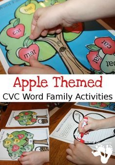 Apple Themed CVC Word Family Activities: -ad, -ag, -am, -an, -ap, -ar, at, -ed, -en, -et, -ig, -in, -ip, -it, -og, -op, -ot, -ow, -ox, -ug, -un, & -ut - writing, family trees wall cards, and sorting activities - 3Dinosaurs.com
