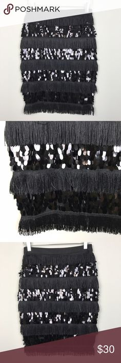 """[Endless Rose] Sequin Paillette Fringe Skirt Black Embellished stretch pencil skirt with tiered fringe and paillette sequins. Hidden side zip. Lined.   🔹Waist: 14"""" flat across 🔹Hips: 17"""" flat across 🔹Length: 22"""" 🔹Condition: NWOT. New and never worn.  *YY15 Endless Rose Skirts Pencil"""