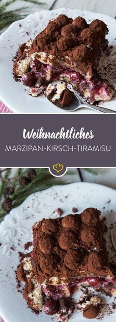 Um den Klassiker festtauglich zu machen, wird er mit Kirschen gefüllt und mit M… To make the classic festive, it is filled with cherries and covered with marzipan potatoes – and our Christmas tiramisu is ready! Sweet Recipes, Cake Recipes, Dessert Recipes, Christmas Desserts, Christmas Recipes, Christmas Cooking, Christmas Christmas, Italian Recipes, The Best