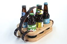 Six Pack Carrier Wood and Leather Beer Holder by WakeTheTree