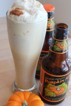 Pumpkin Ale Float. 3 scoops vanilla ice cream, 1 bottle pumpkin ale (I prefer Blue Moon Pumpkin Ale but any will do), 1/2 tsp cinnamon, or pumpkin pie spice (I personally recommend the pumpkin pie spice if you have it. It enhances the pumpkin ale). Scoop ice cream into a large glass, pour in beer, sprinkle with cinnamon or pumpkin pie spice, and enjoy! :)