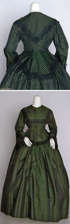 Silk brocade day dress ca. 1860. Two pieces. Small sprigged green & black brocade, peplum bodice, black lace trim. Augusta Auctions