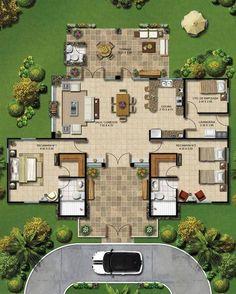 Resultado de imagen para casa estilo hacienda planos