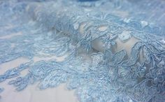 Blue Embroidery Bridal Dress Lace Fabric Beaded Floral Corded Wedding Trim M Bridal Lace Fabric, Wedding Fabric, Blue Bridal, Fabric Beads, Blue Aesthetic, Lace Weddings, Blue Lace, Floral Lace, Bridal Dresses