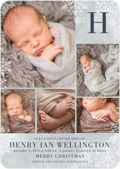 Introduce your adorable new baby boy to the world with a gorgeous winter snowflake photo birth announcement card.