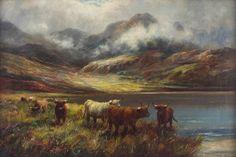 Douglas Cameron Antique Original Oil Painting Mountain Lake Loch Cattle Signed Mountain Paintings, Art Paintings, Cattle, Oil, The Originals, Antiques, Modern, Ebay, Gado Gado