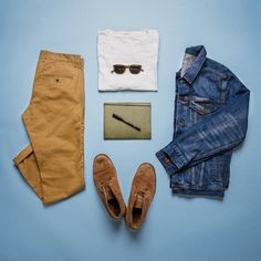 Outfit grid - Skinny tan khakis