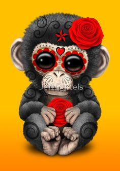 Red Day of the Dead Sugar Skull Baby Chimp | Jeff Bartels