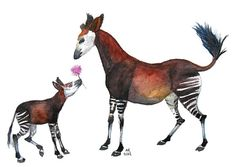 Original Mother and baby Okapi watercolour painting by KAmyKrafts, £25.00