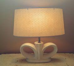 MCM Beige Ceramic Lamp Winged Design Fiberglass Shade Art Deco Design by GladStoneatHome on Etsy