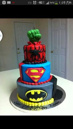 Superhero cake. This concept with movies, name brands etc.