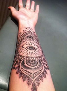 Left Forearm Grey Ink Triangle Eye Tattoo