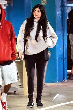 Kylie Jenner wearing Puma Eskiva Hi Sneakers
