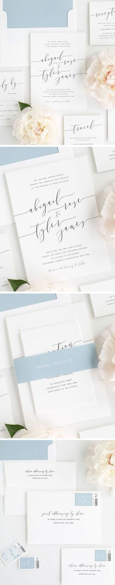 Design your perfect stationery suite from start to finish! Shine Wedding Invitations offers everything you need from save the dates and wedding menu to table numbers and thank you. cards. White Matte wedding invitations with modern calligraphy make an el
