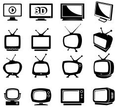 TV black and white television royalty free vector icon set vector art illustration