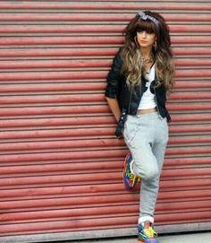 Sweatpants. Black Biker Jacket. Sneakers. Bandanna Headband. Urban Outfit. Hip Hop Outfit. Swag. Dope