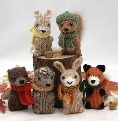 The pattern includes instructions for 6 animals: squirrel mouse hare otter hedgehog and fox. The finished toys are approx. 3 tall and use only a small amount of worsted yarn for each animal. Animal Knitting Patterns, Stuffed Animal Patterns, Knit Patterns, Knitted Dolls, Crochet Toys, Knit Crochet, Crochet Birds, Wire Crochet, Knitted Baby