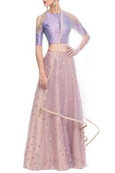 Lilac embellished lehenga set
