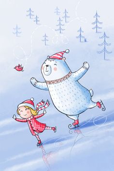 little girl  and polar bear by Irina Smirnova, via Behance